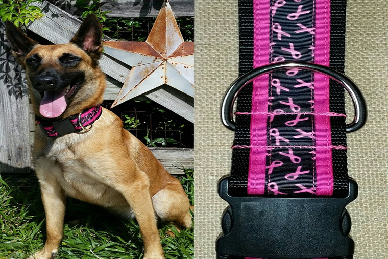 dog collar pink breasty cancer tactical xl