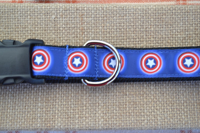 captain america marvel comics superhero dog collar