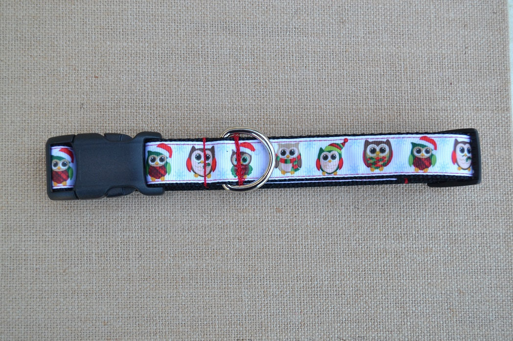 dog collar christmas owls