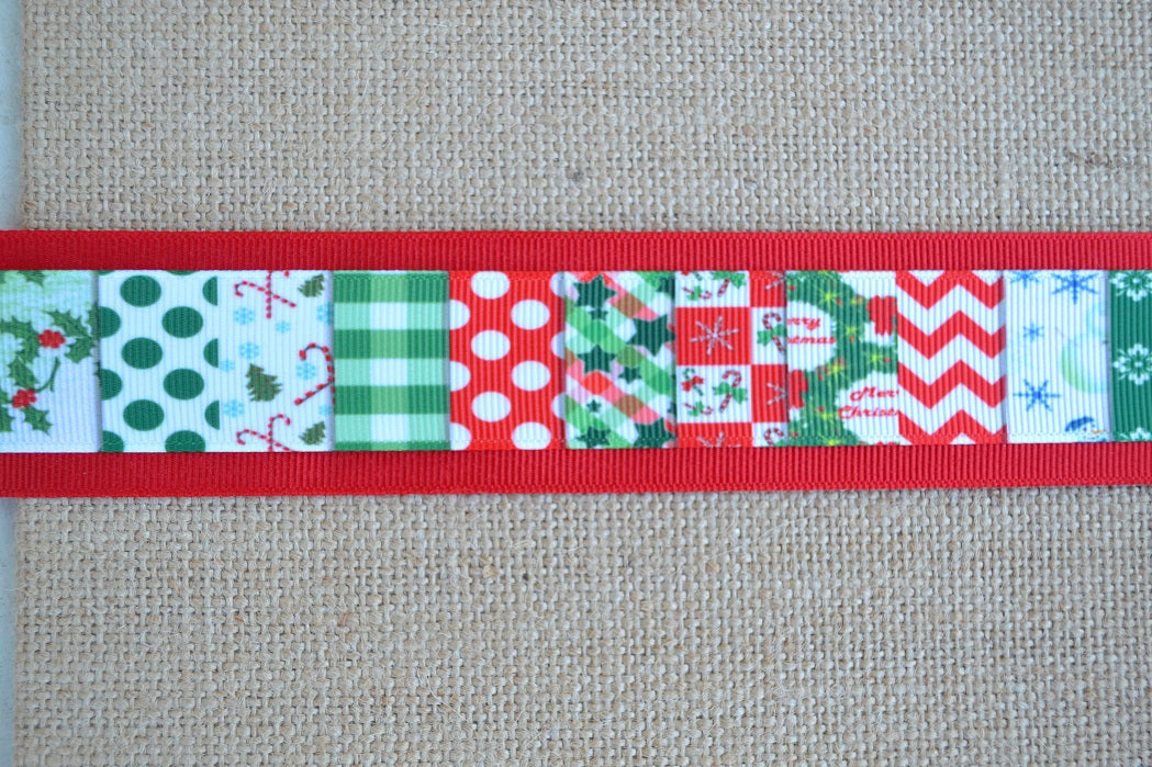 dog collar christmas patchwok colorful xl red