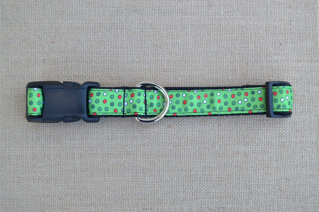 dog collar christmas polka dots