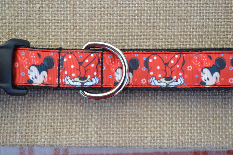 disney minnie mouse dog collar red