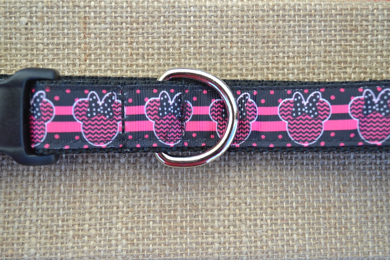 disney minnie mouse dog collar pink