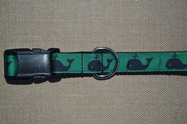 dog collar whale navy green preppy