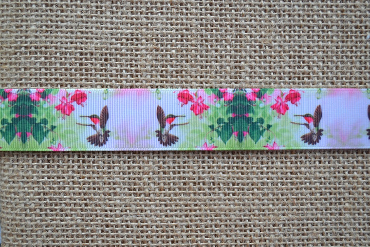 dog collar hummingbird flowers pink