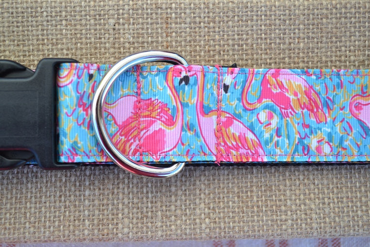lilly pulitzer flamingo dog collar