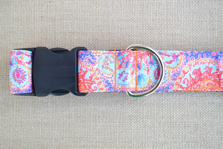 dog collar lilly pulitzer sun seahorse coral xl