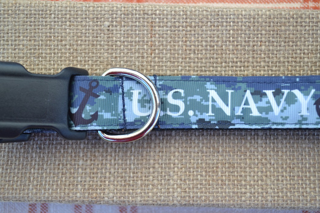 dog collar us navy digital camo