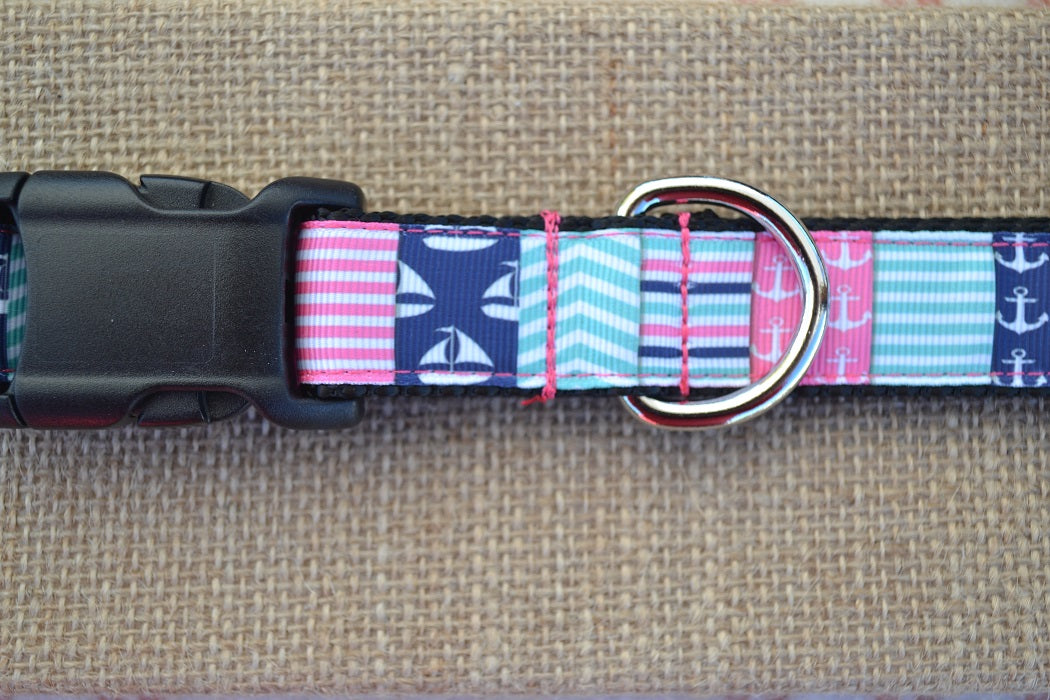 dog collar nautical patchwork preppy pink