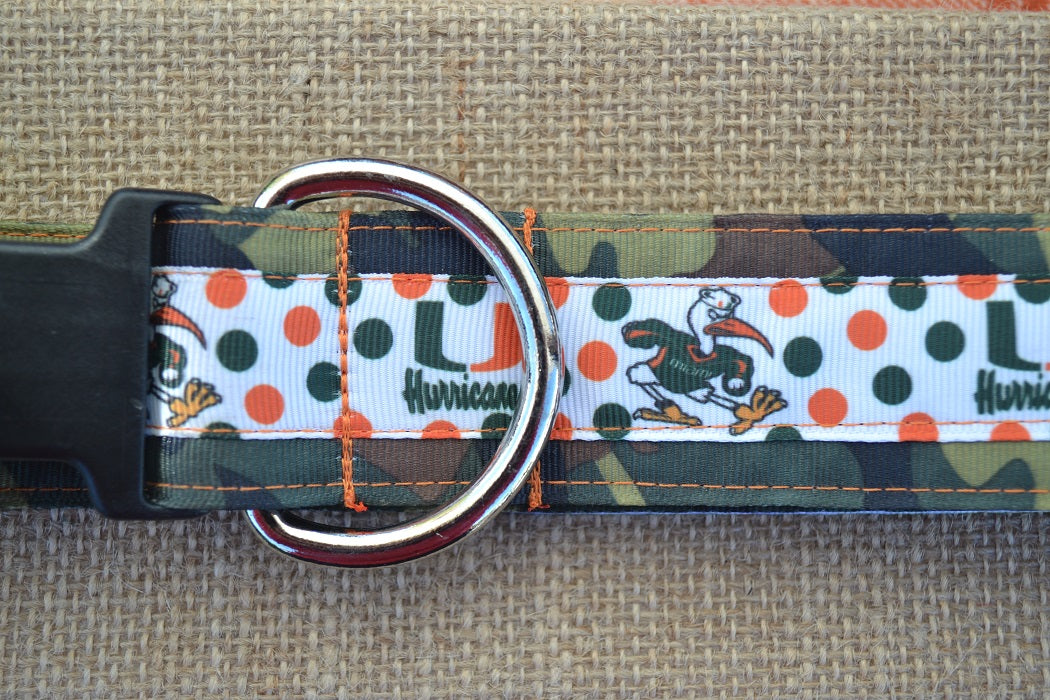dog collar miami canes xl dot camo