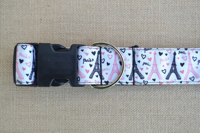 dog collar paris pink black eiffel tower xl