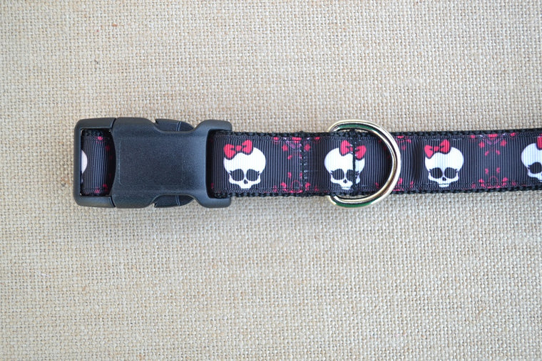 dog collar pink bow skull