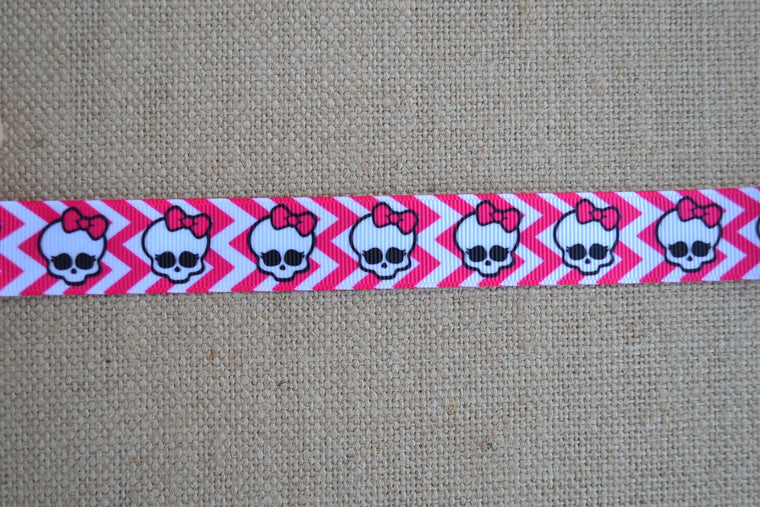 dog collar pink chevron skull girly