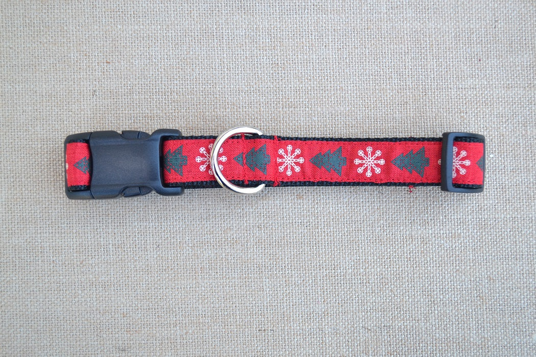 dog collar christmas tree snowflake red