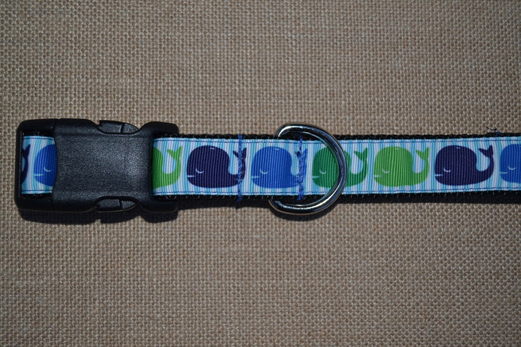 dog collar preppy whale blue green