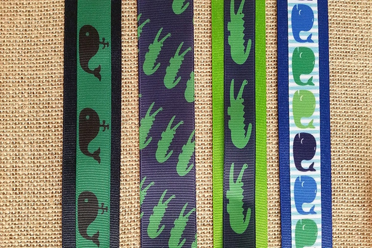 "1.5"" wide Alligator / Whale Themed Dog Collars"