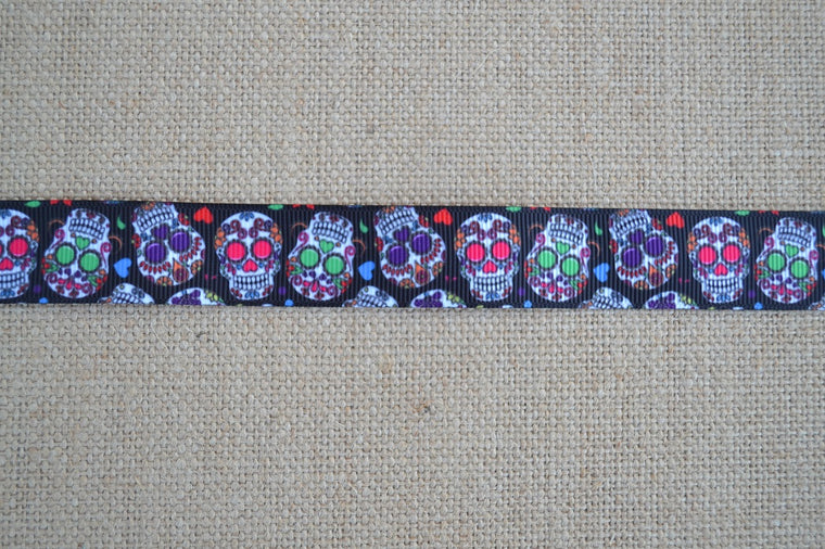dog collar sugar skulls mutlicolored