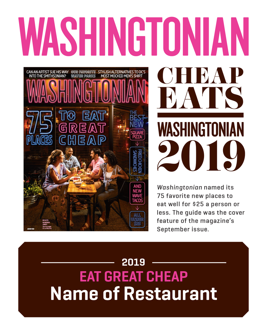Washingtonian Cheat Eats Plaque