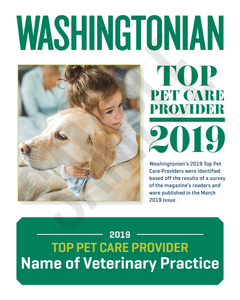 Washingtonian Top Pet Care Provider Plaque