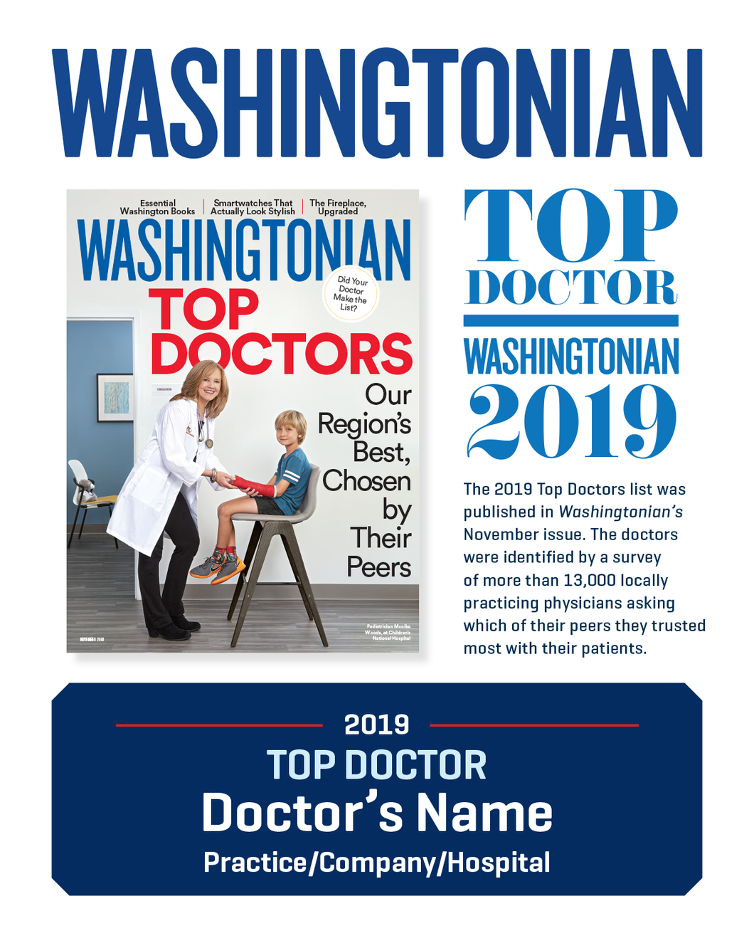 Washingtonian Top Doctor Plaque (30% Discount)