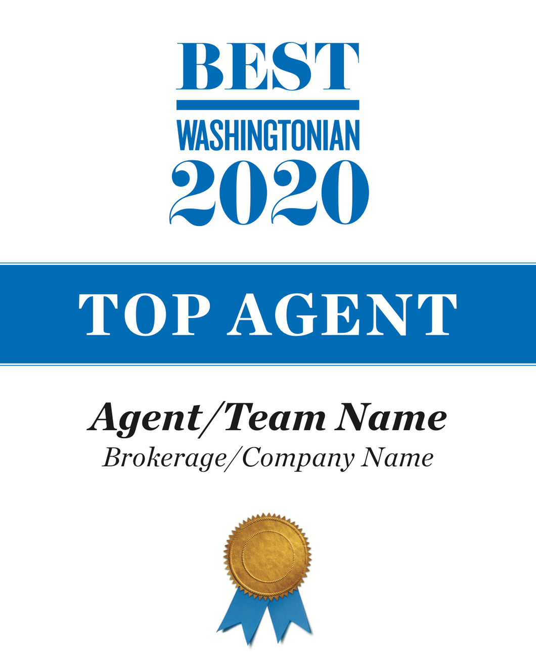 Washingtonian Top Agents Plaque