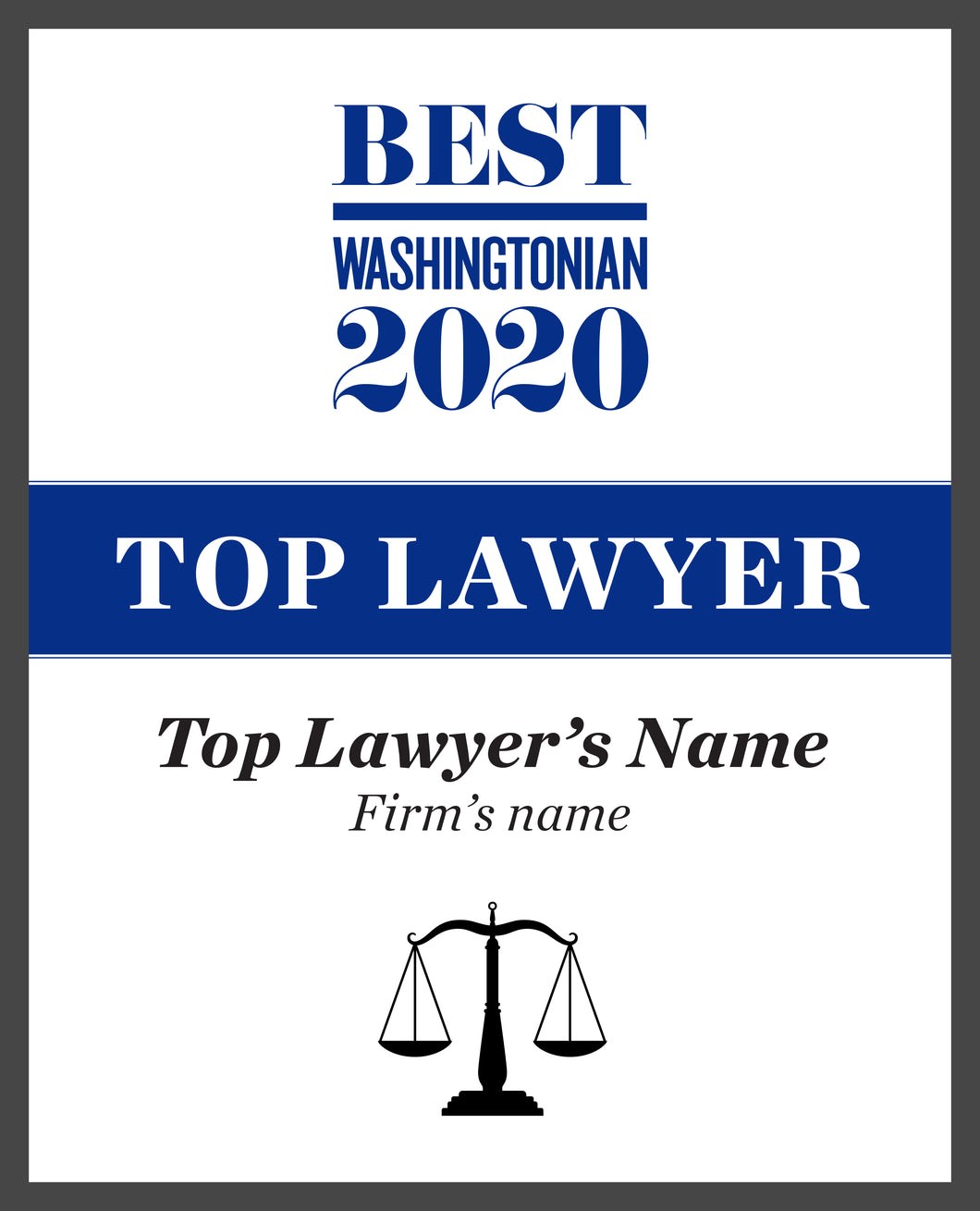Washingtonian Top Lawyer Plaque