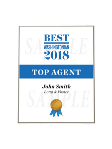 Washingtonian Top Agent Plaque