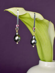 pearl and diamond earrings perfect for everyday Nikki Lorenz Designs