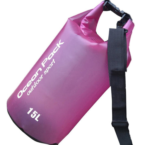 Lightahead Transparent Waterproof Dry Bags 15L for Kayaking/ Canoeing/ Rafting/ Beach/ Hiking-Pink