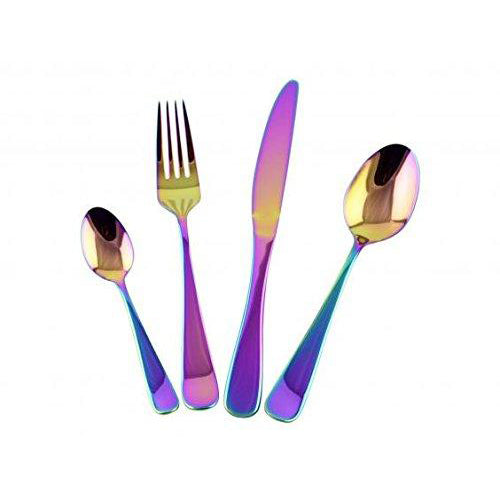 Lightahead 16pc Stainless Steel Flatware Tableware Cutlery Set with Colored Titianic PVD in Gift box