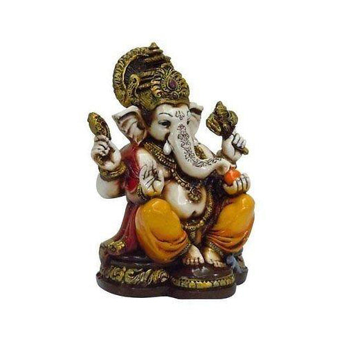 Lightahead The Blessing. A Colored & Gold Statue of Lord Ganesh Ganpati Elephant Hindu God Made from Marble Powder in India