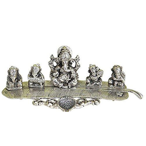 Lightahead Lord Ganesh musicians a unique diya tea light candle incense stand in white metal statue of Hindu Gods made in India