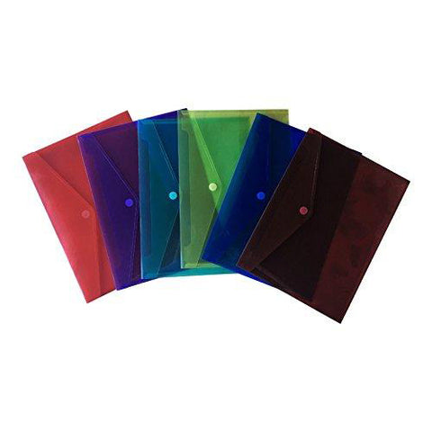 Lightahead LA-7550 Clear Poly Document Folder with Velcro Closure, A4 size, Set of 6, 6 Assorted Colors (Blue/Green/Orange/Yellow/Purple/Maroon)