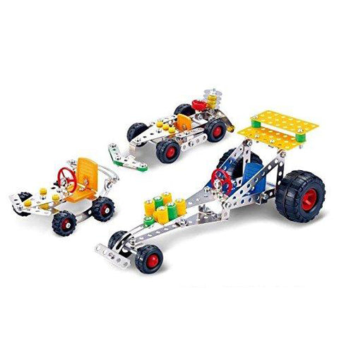 Lightahead Assembly Metal 3 Vehicle Models Kits Toy Car to Assemble. Puzzles Set for Kids, 291 pcs metal blocks