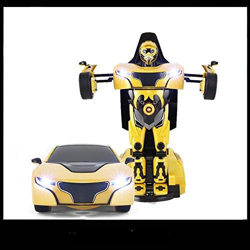 Lightahead Remote Controlled Transformable Robot Car, One key Transformation, The Perfect Gift For Kids! (YELLOW)