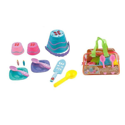Lightahead A Beach Cake Party .11 pcs Toys Playset for Children & Kids with reuseable zipper bag. Bucket,plates, spoons ,candle & cake moulds A Beach Sand Toys Set