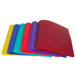 Lightahead Two Pocket Poly File Portfolio Folder with 3 Prongs Fasteners, Assorted Colors, Set of 6