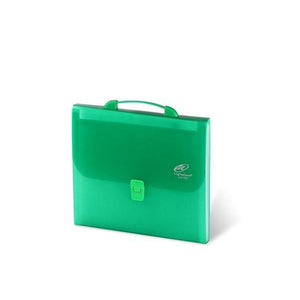 Lightahead LA-7557 Expanding File Folder with 12 Pockets Tabs, Handle & Insert Button Green Color
