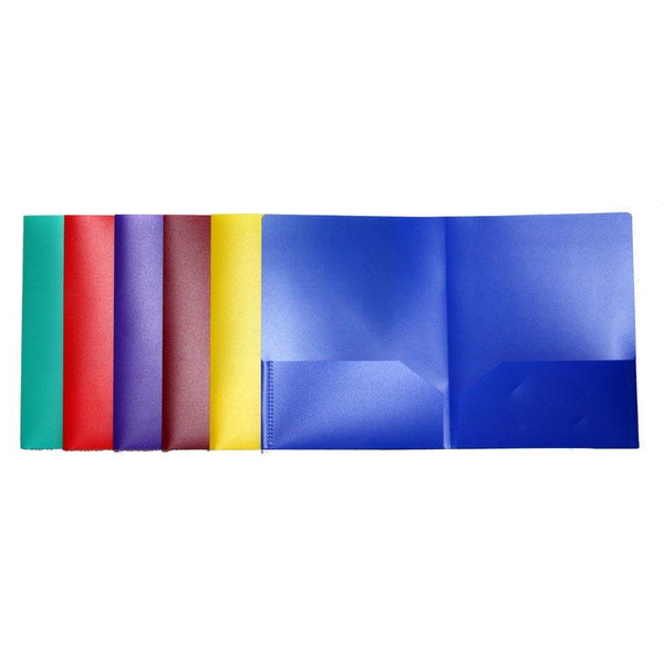 Lightahead Two Pocket Portfolio Plastic Folder, Set of 6 folders in Bright Assorted colors LAE3102R2