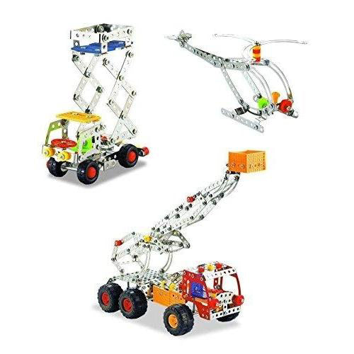 Lightahead Assembly Metal Model Kits Toy Building Puzzles Construction Play Set, 691 pcs metal blocks builder center can make 3 designs (Crane, Helicopter, Truck)