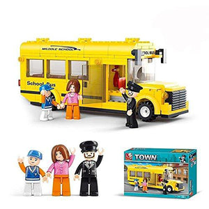 Lightahead School Bus with Mini Figures Toy Building Blocks Set Educational Kit For Kids (219 PCS)
