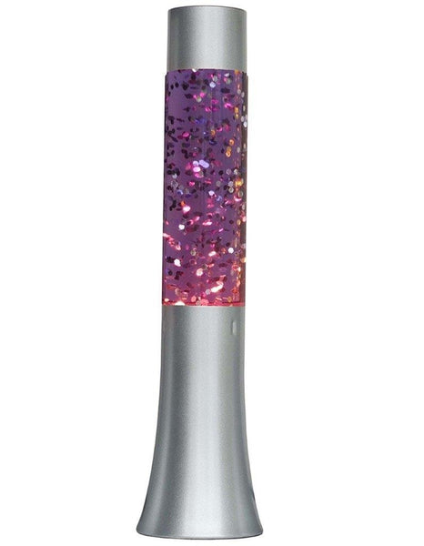 "Lightahead® 13"" Glitter Glow Lamp with metal base Motion Sparkle Lamp with Silver Base Blue/Purple Water Silver Glitter"