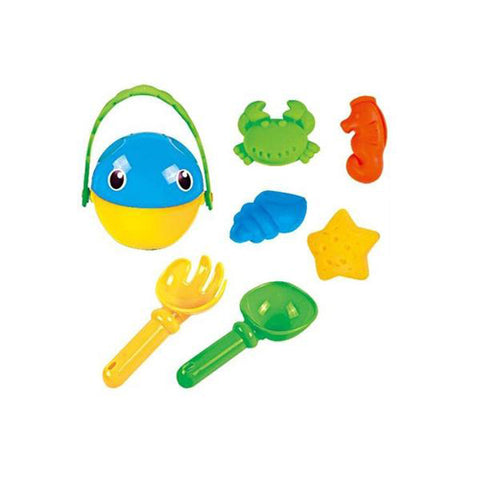 Lightahead 7pcs Beach Bucket Rake, Shovel, moulds Toys Playset for Kids in reuseable zipper bag