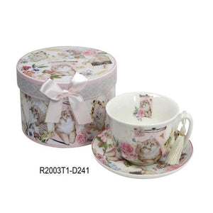 Lightahead Elegant Bone China Cappuccino Coffee Tea Cup and Saucer cat Kitten design 10 oz in attractive gift box