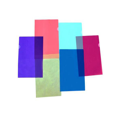 Lightahead LA-7555 Clear document Folder, A4 size, Set of 12 in 6 assorted Colors