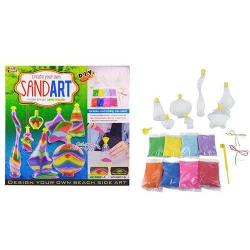 Lightahead DIY Sand Art toy set .Use your Imagination & Create Your Own Beach Side Art With Colored Sand and Bottles.