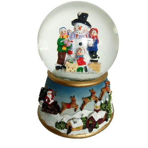 Lightahead Polyresin Snowman 100mm Water globe with flying snow, LED light, Musical with 8 melodies playing Table Top Centerpieces in Polyresin