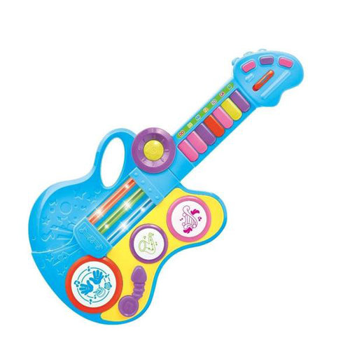 Lightahead Folding Electronic Guitar Organ with Drum Piano Trumpet Mode Vibrant Sounds & Lights With Strap A Fun Musical Toy for Kids