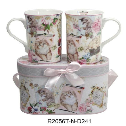 Lightahead Elegant Bone China Two Coffee Tea Mugs set in Cat, Kitten Design 11.2 oz each cup in attractive gift box