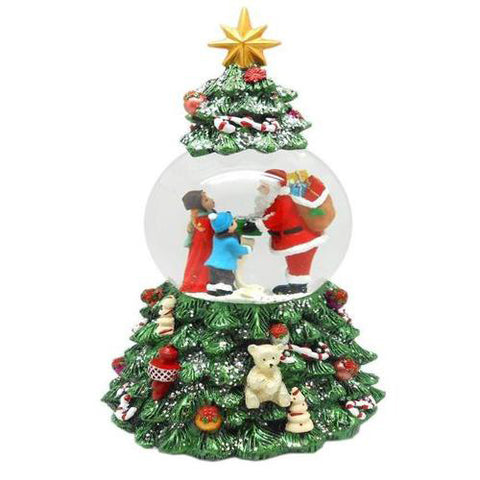 Lightahead Poly resin 80MM Christmas Tree Revolving Music Water Ball Snow Globe, Santa with Gifts